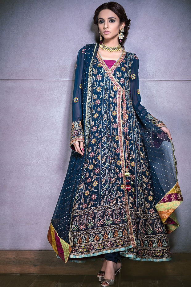 Pakistani blue designer dress for wedding wear