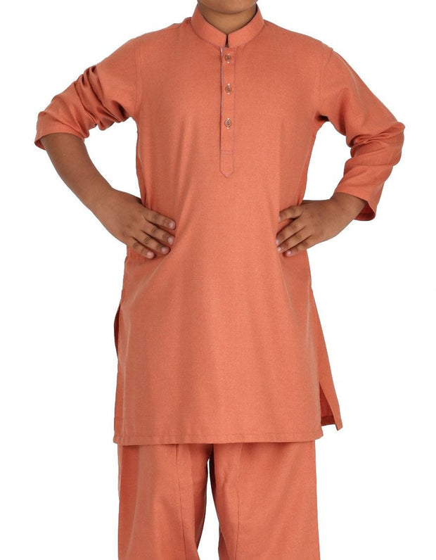 Beautiful Pakistani boy dress in rust color for casual wear # K2308