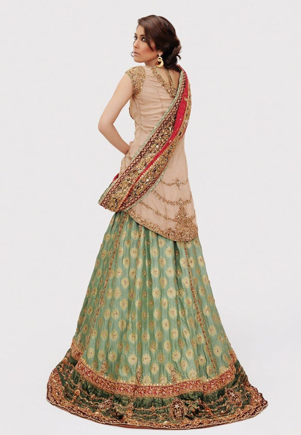 Bridal Jamawar Lehnga for Wedding Backside