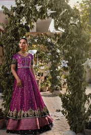 Bridal Jamwar Lehnga with Frock in Purple Color