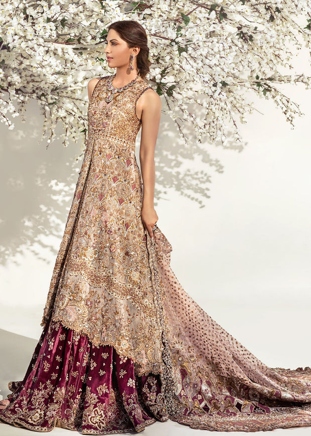 Bridal Long Frock with Lehnga Side Pose