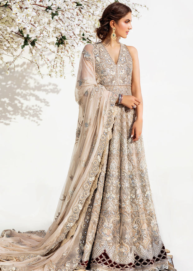 Bridal Long Maxi with Lehnga in Silver Color