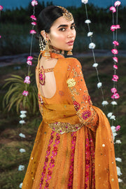Bridal Mehndi Frock Outfit in Orange Color