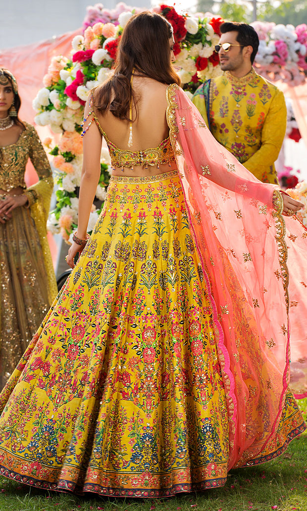 Bridal Mehndi Lehnga Choli for Wedding Backside View