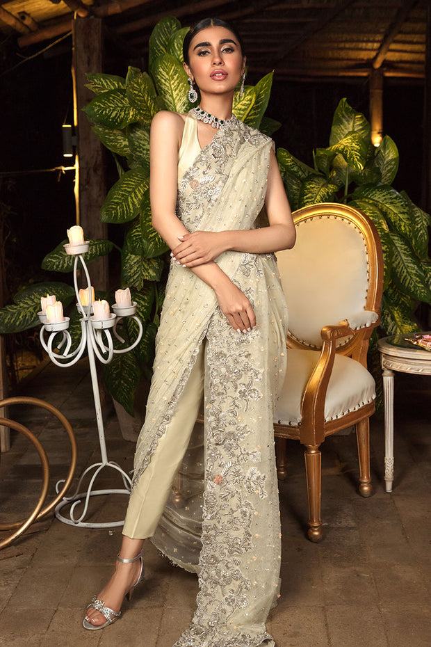Bridal Net Saree in Ivory Color