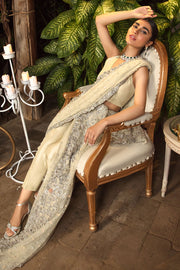 Bridal Net Saree in Ivory Color Close Up