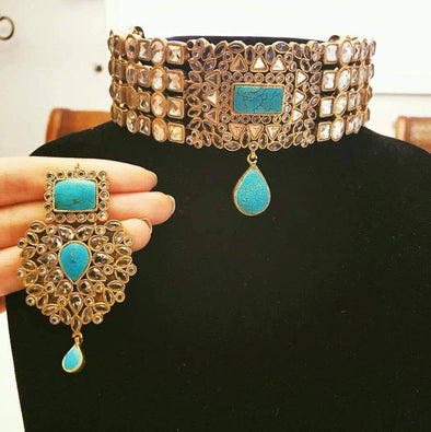 Bridal Choker Necklace with Turquoise Stones