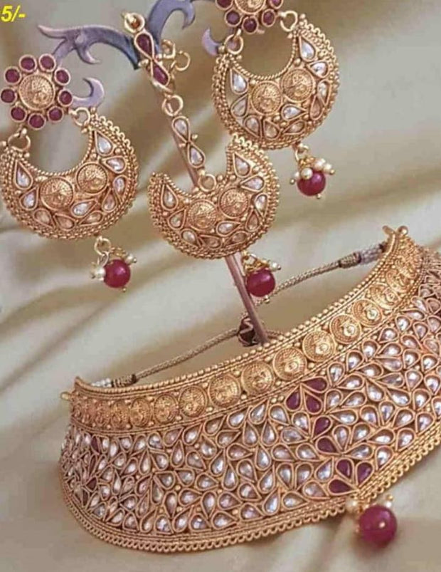 Bridal Kundan Necklace With Pearls