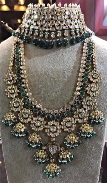 Bridal Silver Necklace Set With Kundan