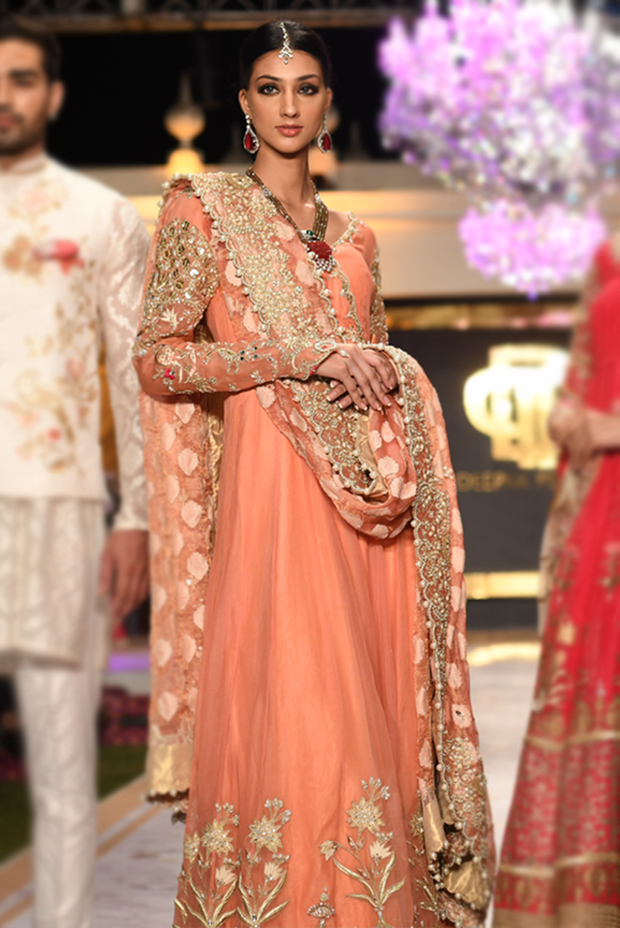 Beautiful Pakistani bridal anarkali dress embroidered in peach color