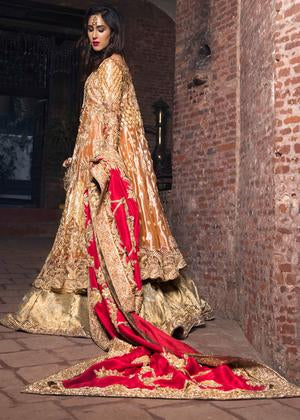 Latest bridal gharara outfit for wedding wear in orange gold color # B3403