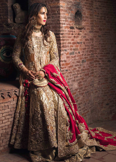 Latest bridal gharara outfit for wedding wear in orange gold color