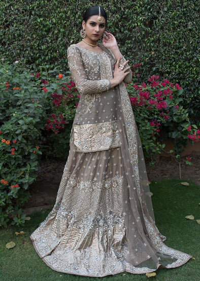 Beautiful designer embroidered bridal lehnga dress in grey color