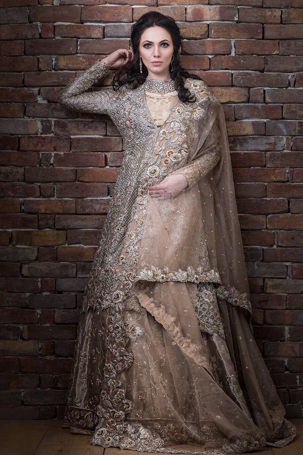 Elegant Pakistani bridal lehnga outfit in copper color # B3315