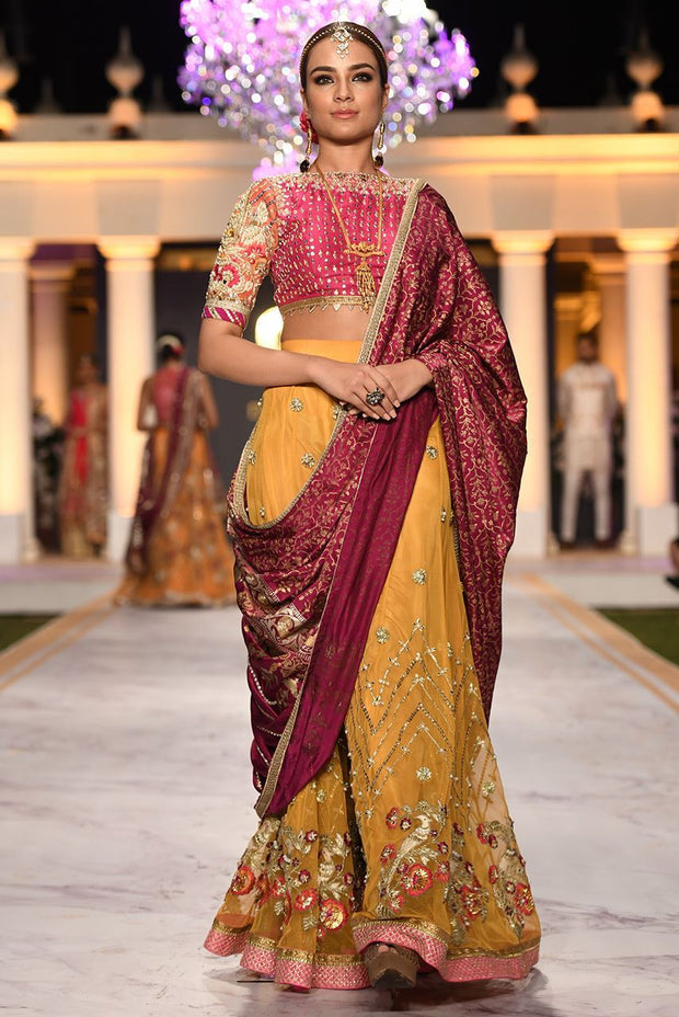 Beautiful designer bridal mehendi dress embroidered in yellow color # B3425
