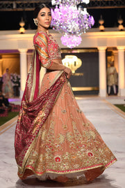 Beautiful designer bridal mehndi dress embroidered in pink colo