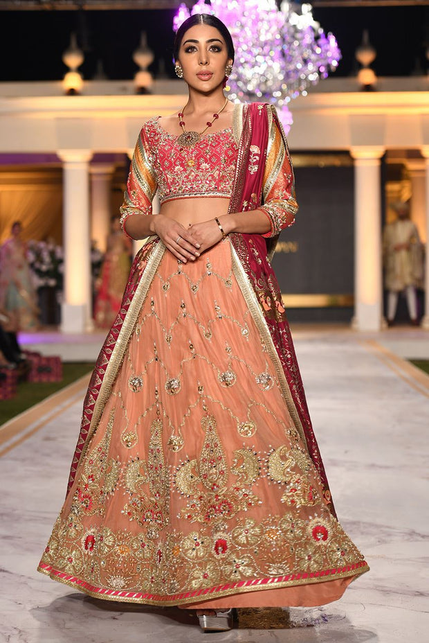 Beautiful designer bridal mehndi dress embroidered in pink color # B3421
