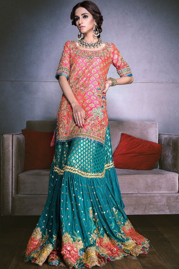 Beautiful bridal mehndi lehnga in orange and turquoise color # B3312