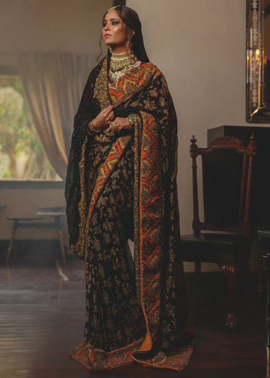 Designer bridal saree with multi work in black color