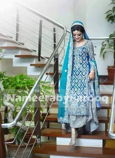 Ferooze & Blue Bridel Lehanga with Dabka Naqshi & Nugh Work