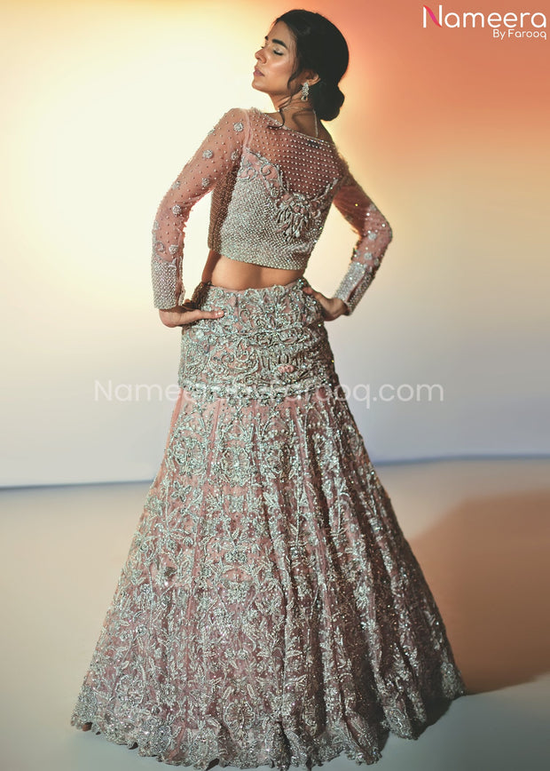 Pakistani Silver Lehenga Choli for Bridal Online Back Side View