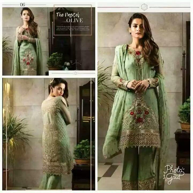 Buy Trendy Embroidered Olive Chiffon Suit  Imrozia Designer