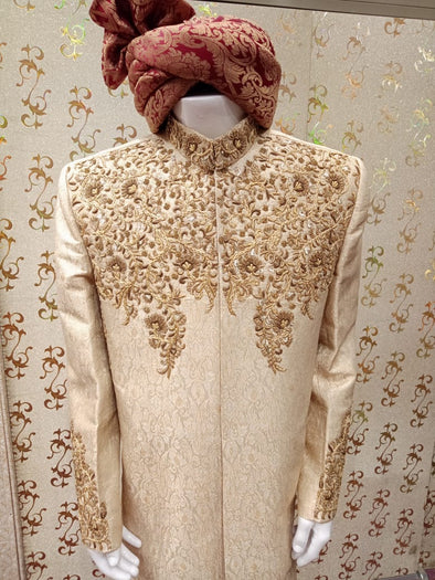 Golden Atlas Jama War Sherwani With Mate Dabka Zari,And Rasham Work.Turban Also Included.