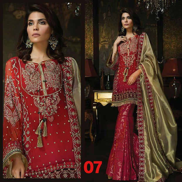 Beautiful dress by Ayra in red and golden color work