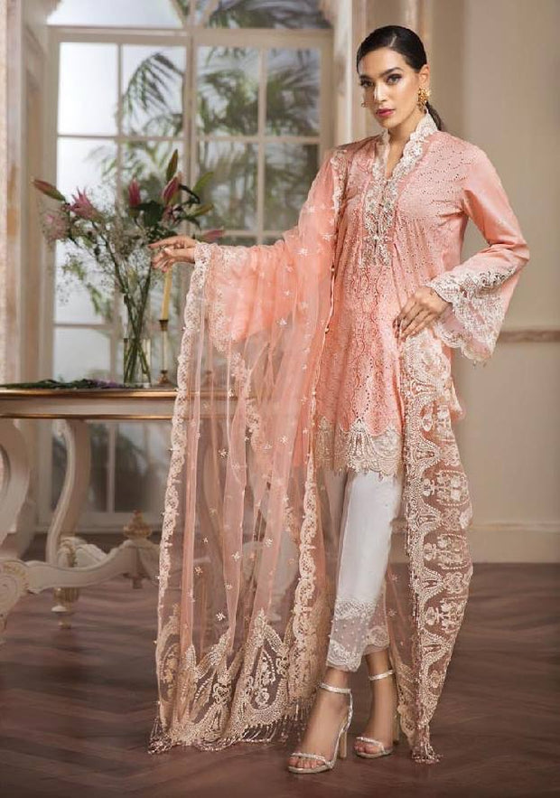 Pakistani Shlwar Suit By Anaya In Baby Pink Color.Work Embellished With Threads Embroidery Cutwork Daman And Cut Work Bazoo.