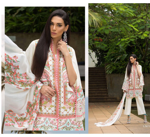 Pakistani Formal Wear by Sana Safinaz I'm off white color with Threads Embroidery And Woolen Shawl