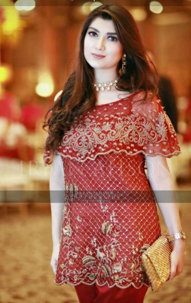 Beutifull wedding party dress in red color with dabka nagh and cutwork Model#P1008