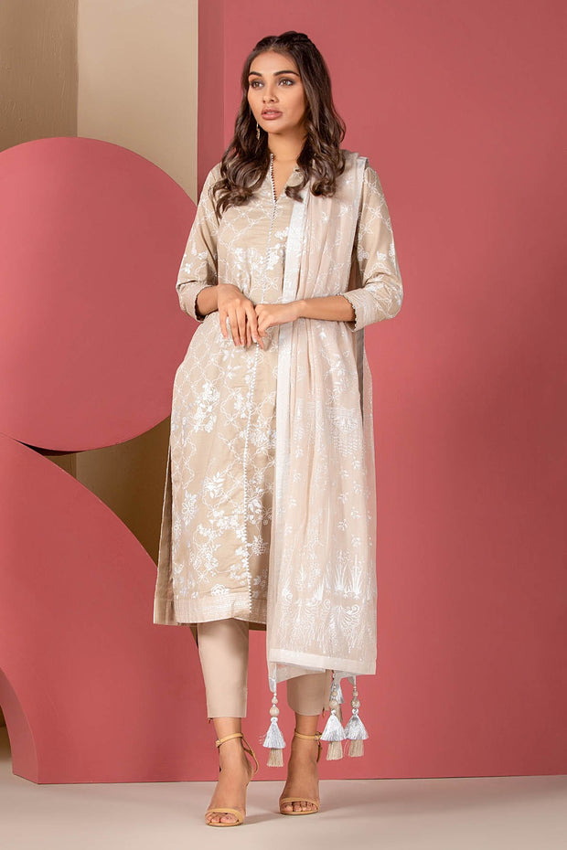Latest Summer Pakistani printed casual lawn dress in beige color