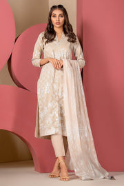 Latest Summer Pakistani printed casual lawn dress in beige color # P2501