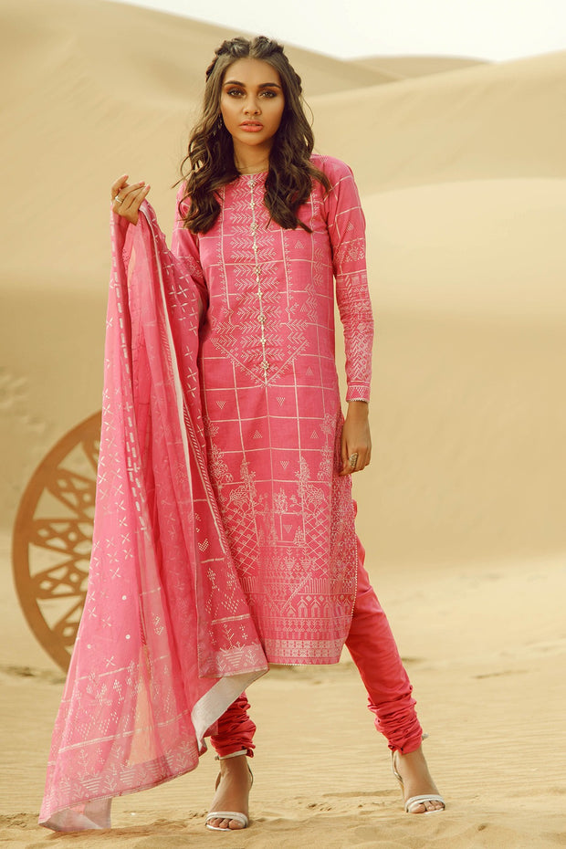 Latest Summer Pakistani printed casual lawn outfit in pink color # P2502