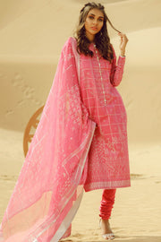 Latest Summer Pakistani printed casual lawn outfit in pink color