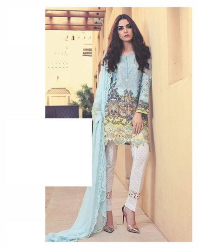 Check Cut Work Sky Blue Trendy Lawn Cheffon Dupatta Dress