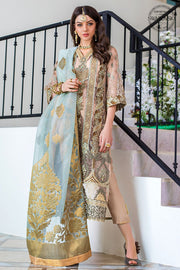 Chiffon Festive Party Outfit in Beige Color