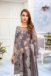 Latest embroidered chiffon outfit 2020 online in elegant grey color # P2519