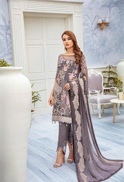 Latest embroidered chiffon outfit 2020 online in elegant grey color