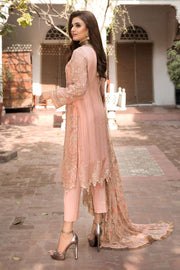 Chiffon Party Dress with Embroidery in Peach Color