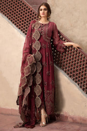Chiffon Party Outfit in Maroon Color