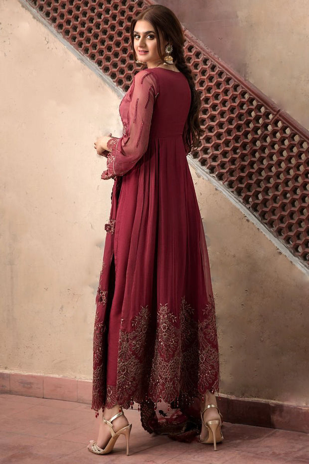 Chiffon Party Outfit in Maroon Color  Backside