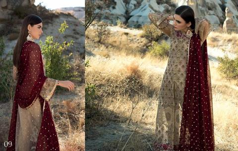 Chiffon Skin Gold And Maroon DressSequance Tilla Embroidery