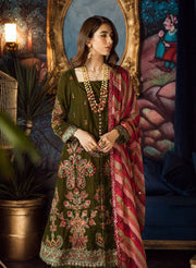 Beautiful chiffon and velvet embroidered dress in olive green color