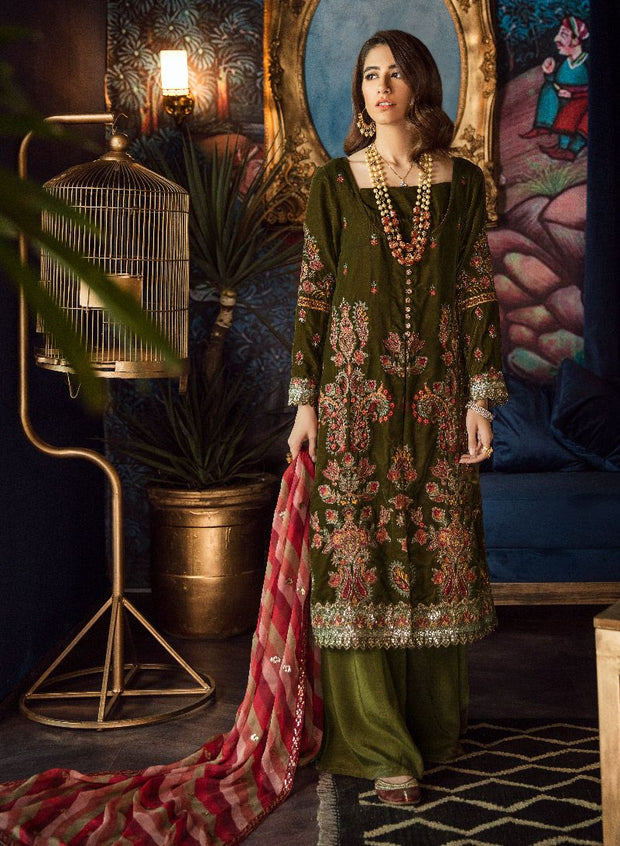 Beautiful chiffon and velvet embroidered dress in olive green color # P2466