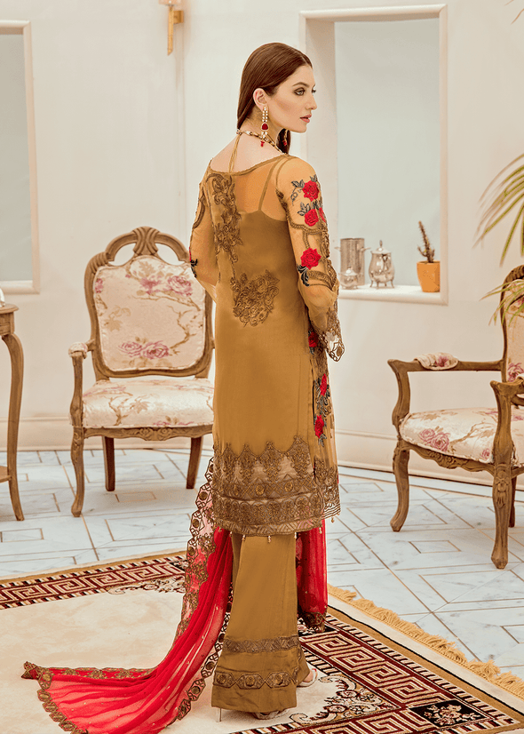 Pakistani chiffon fancy outfit in elegant brown color # P2286