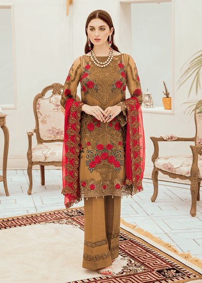 Pakistani chiffon fancy outfit in elegant brown color