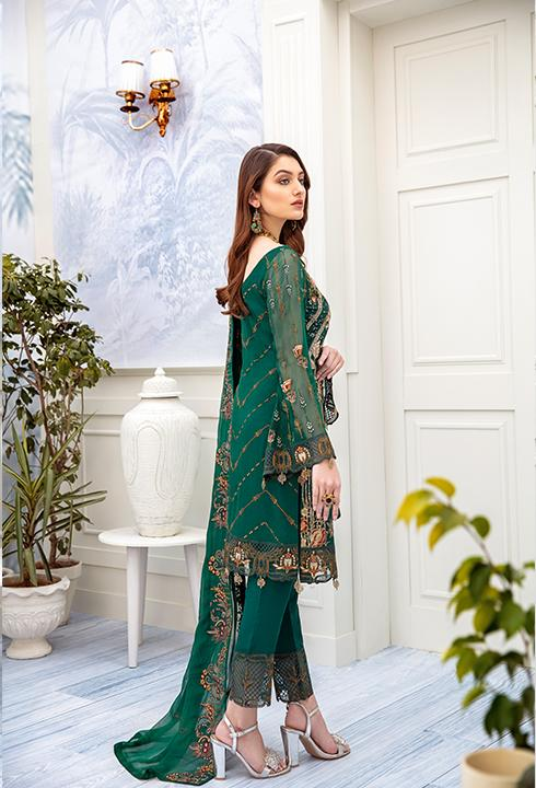 Latest embroidered Pakistani chiffon outfit online in green color # P2512