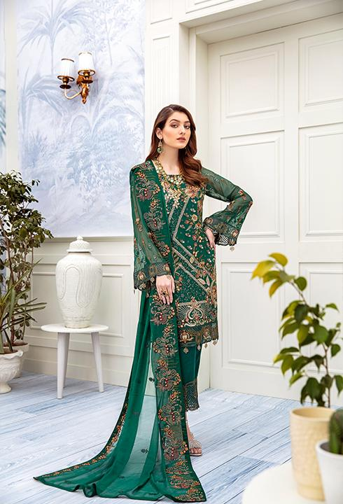 Latest embroidered Pakistani chiffon outfit online in green color