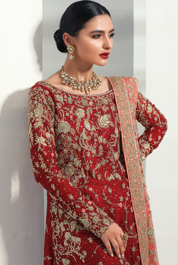 Classic Bridal Red Lehnga with Embroidery #Y6126
